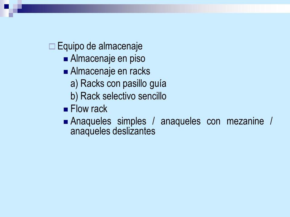 Equipo de almacenaje Almacenaje en piso. Almacenaje en racks. a) Racks con pasillo guía. b) Rack selectivo sencillo.