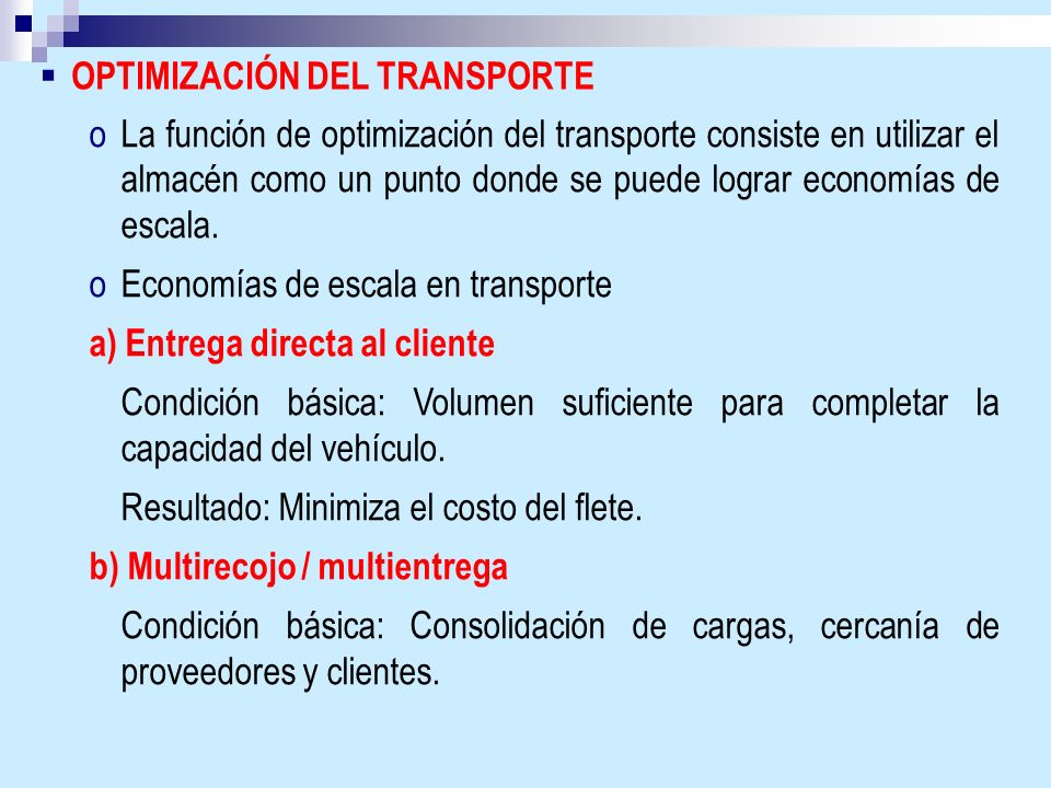OPTIMIZACIÓN DEL TRANSPORTE