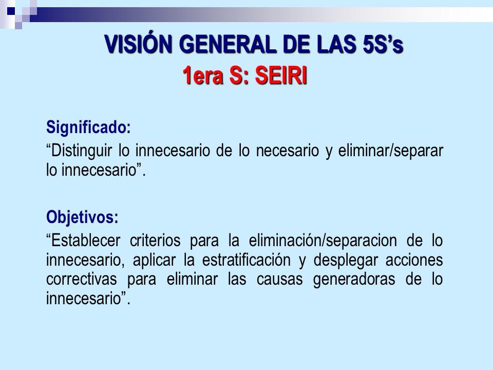 VISIÓN GENERAL DE LAS 5S's