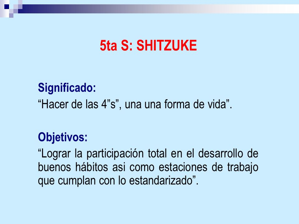 5ta S: SHITZUKE Significado: