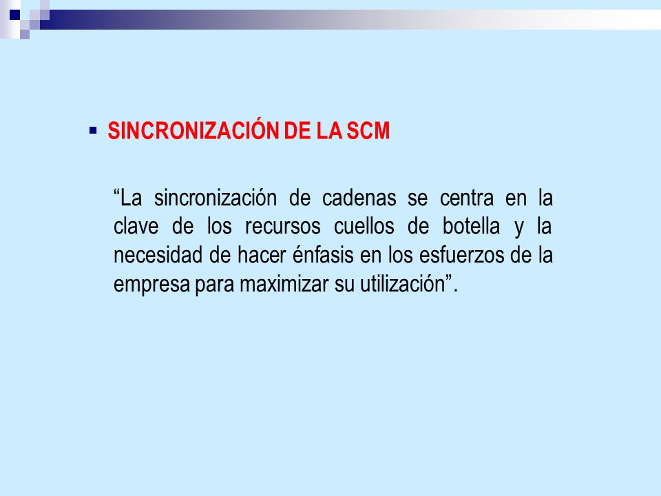 SINCRONIZACIÓN DE LA SCM