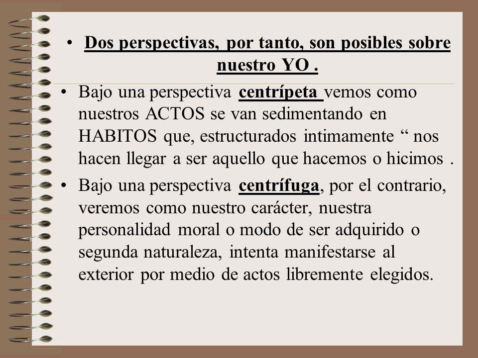 Dos perspectivas, por tanto, son posibles sobre nuestro YO .