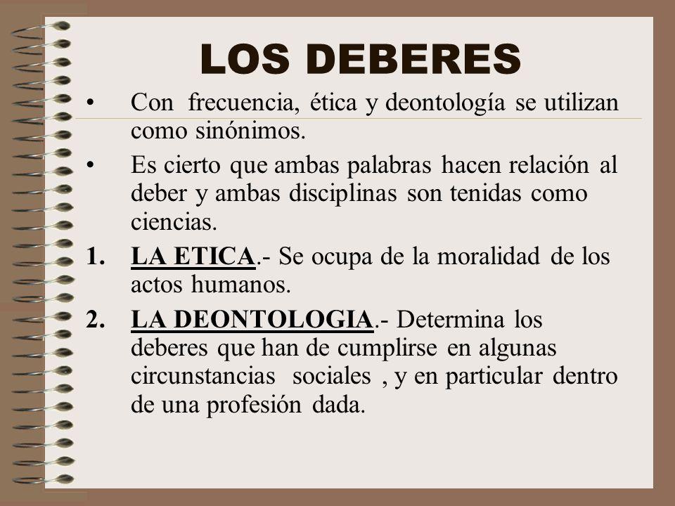 LOS DEBERES Con frecuencia, ética y deontología se utilizan como sinónimos.