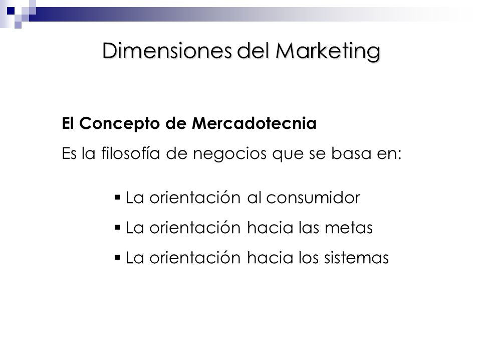 Dimensiones del Marketing