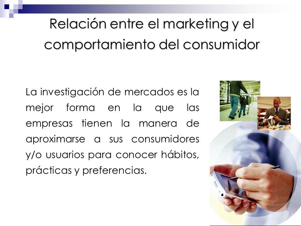 Relación entre el marketing y el comportamiento del consumidor