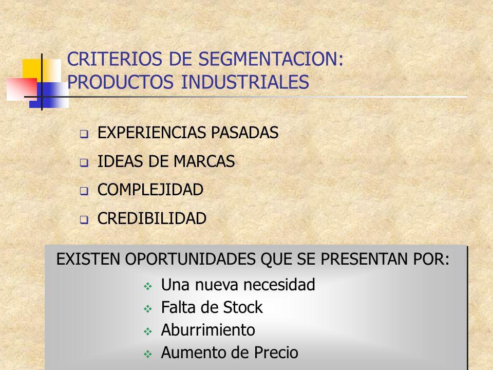 CRITERIOS DE SEGMENTACION: PRODUCTOS INDUSTRIALES