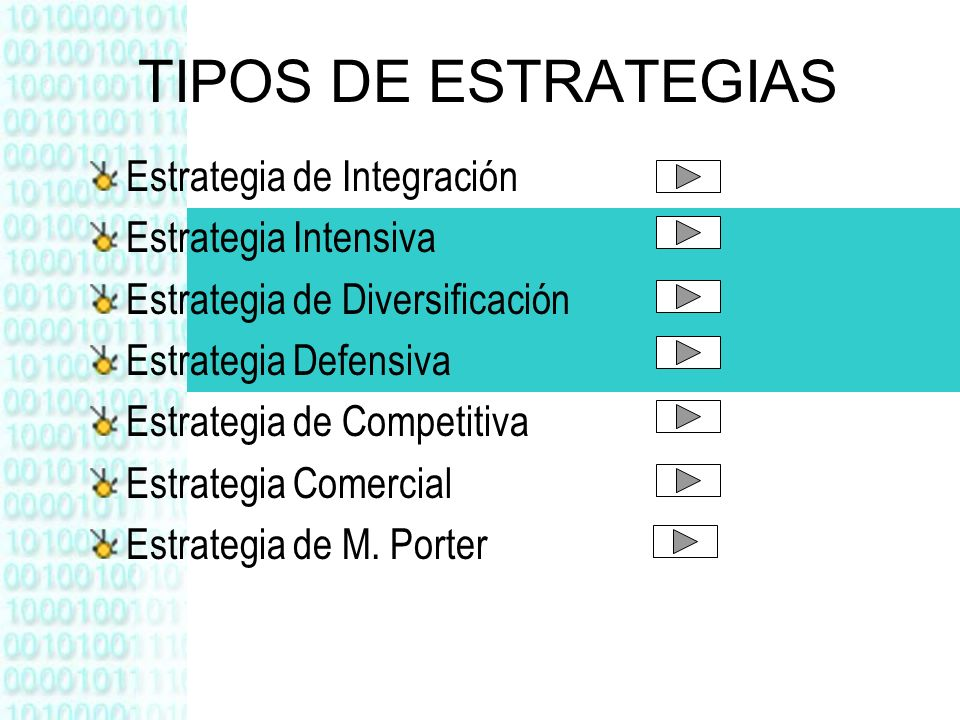 TIPOS DE ESTRATEGIAS Estrategia de Integración Estrategia Intensiva