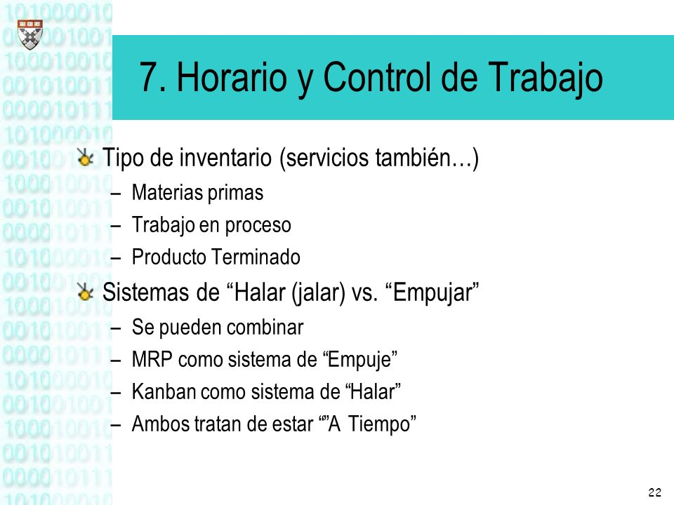 7. Horario y Control de Trabajo