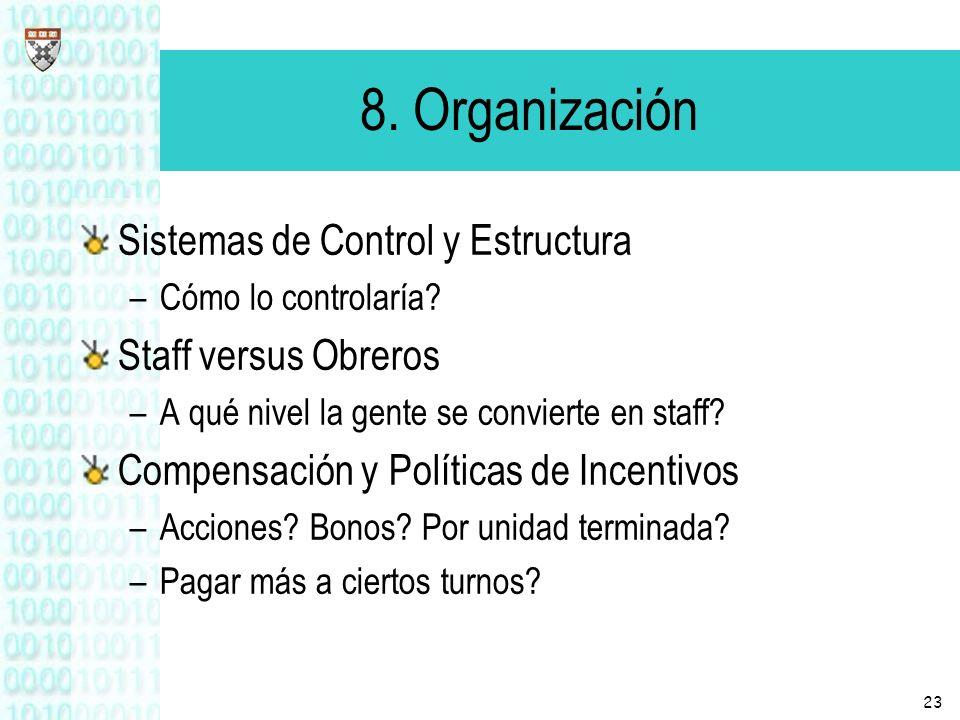 8. Organización Sistemas de Control y Estructura Staff versus Obreros