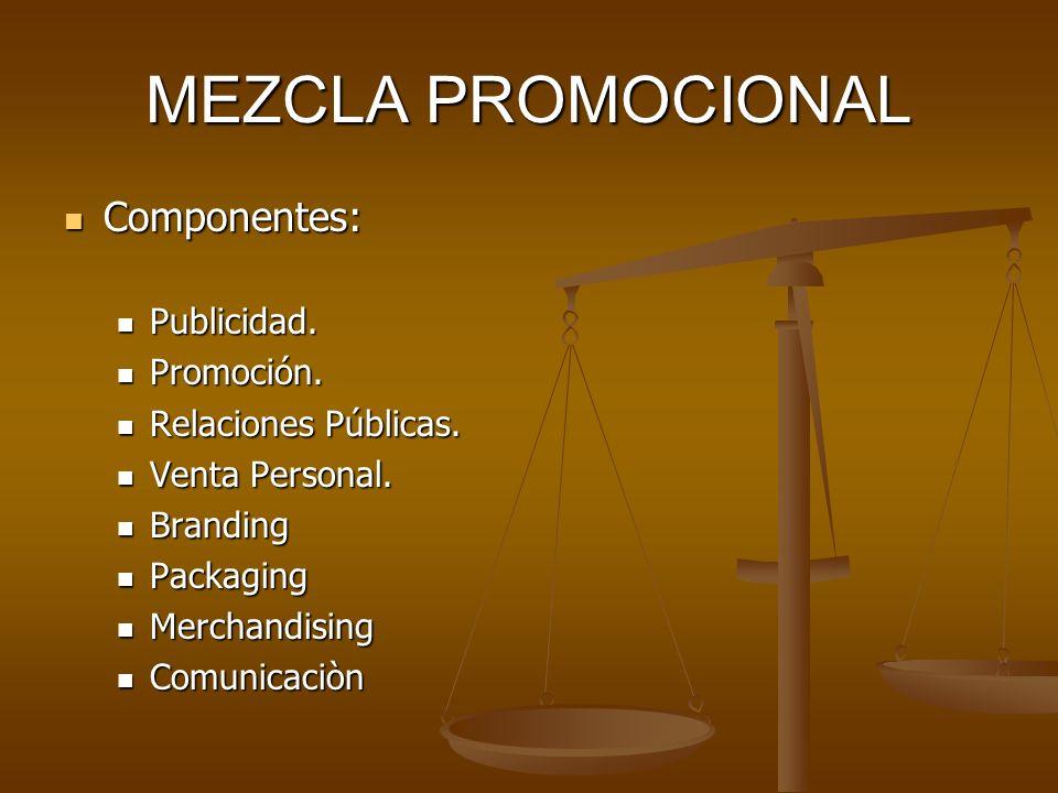 MEZCLA PROMOCIONAL Componentes: Publicidad. Promoción.