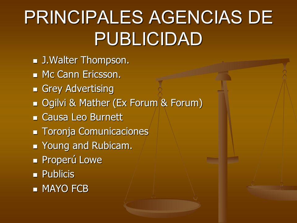 PRINCIPALES AGENCIAS DE PUBLICIDAD