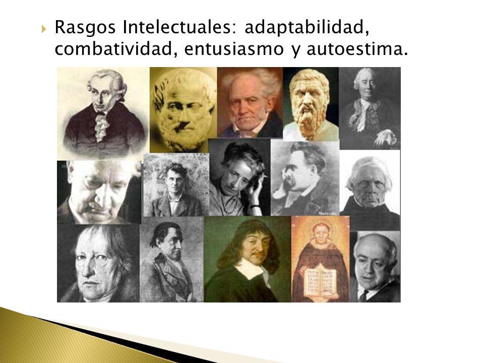 Rasgos Intelectuales: adaptabilidad, combatividad, entusiasmo y autoestima.