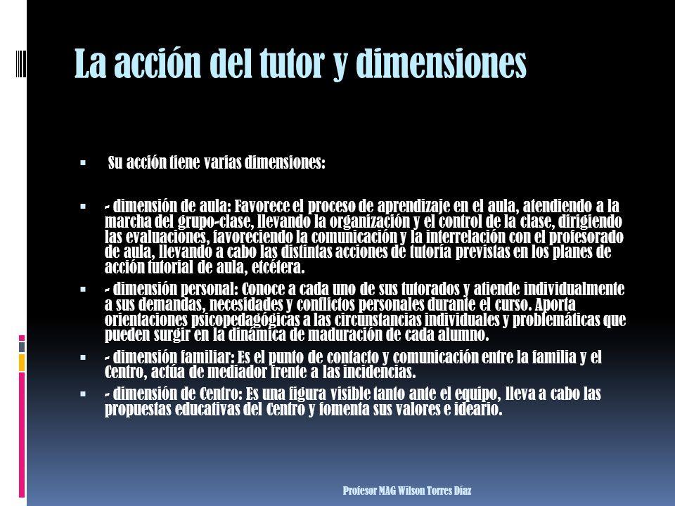 La acción del tutor y dimensiones