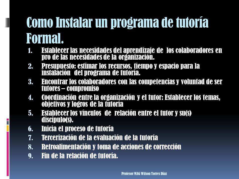Como Instalar un programa de tutoría Formal.