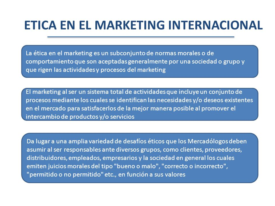 ETICA EN EL MARKETING INTERNACIONAL