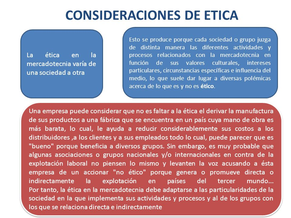 CONSIDERACIONES DE ETICA