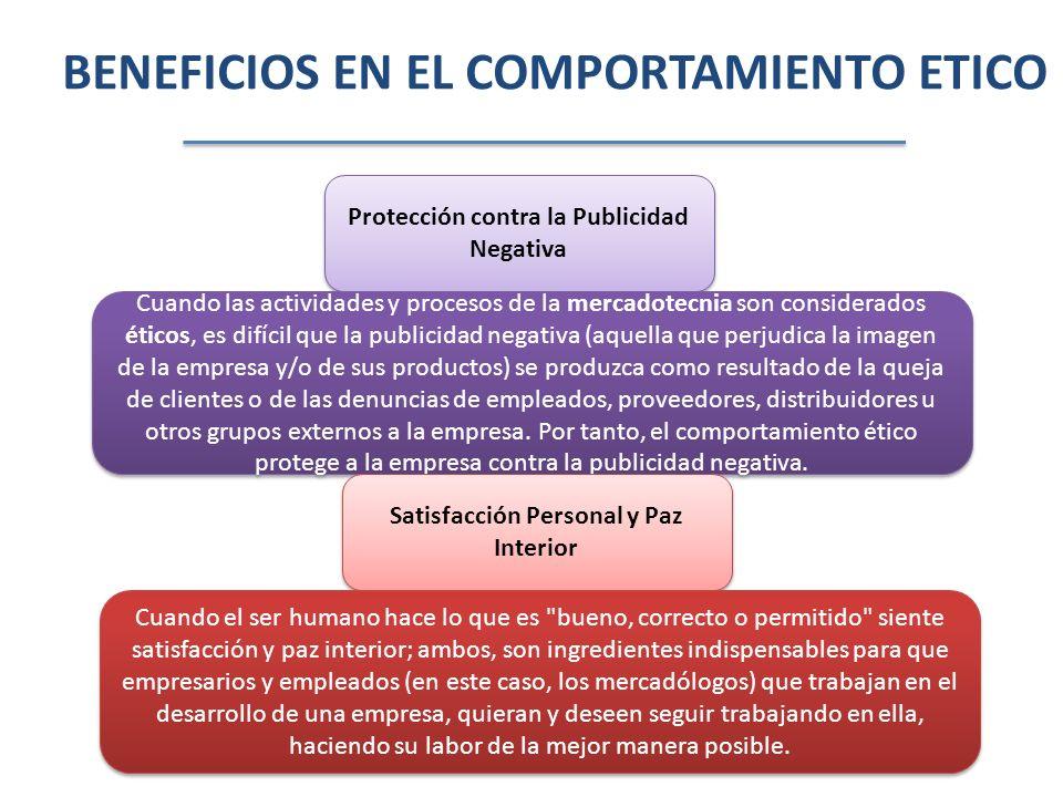 BENEFICIOS EN EL COMPORTAMIENTO ETICO