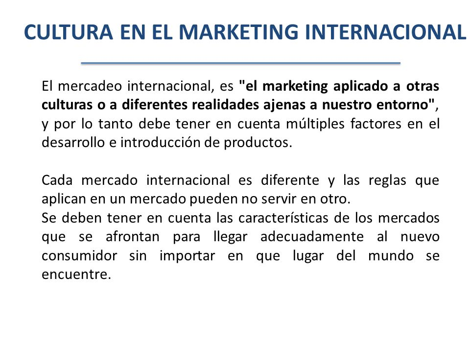 CULTURA EN EL MARKETING INTERNACIONAL