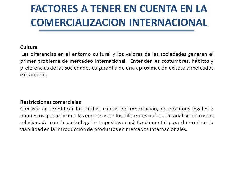FACTORES A TENER EN CUENTA EN LA COMERCIALIZACION INTERNACIONAL