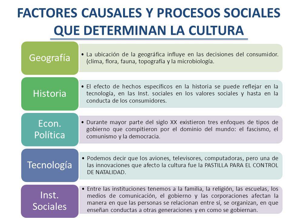 FACTORES CAUSALES Y PROCESOS SOCIALES QUE DETERMINAN LA CULTURA
