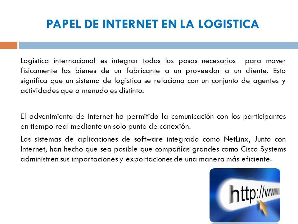 PAPEL DE INTERNET EN LA LOGISTICA