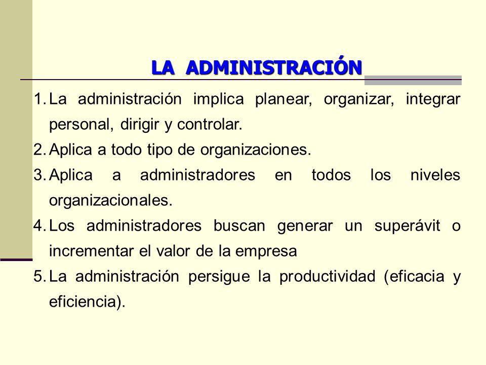 LA ADMINISTRACIÓN La administración implica planear, organizar, integrar personal, dirigir y controlar.