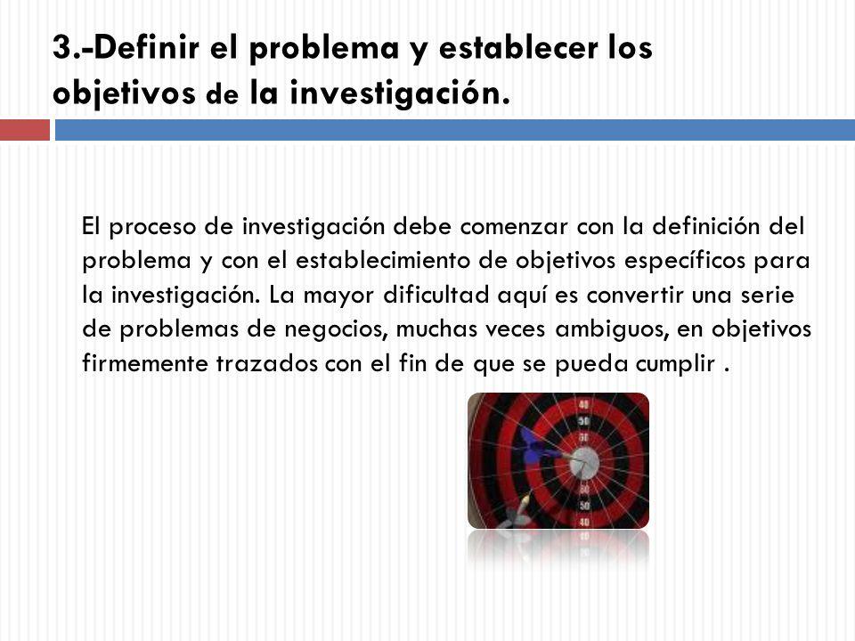 3.-Definir el problema y establecer los objetivos de la investigación.