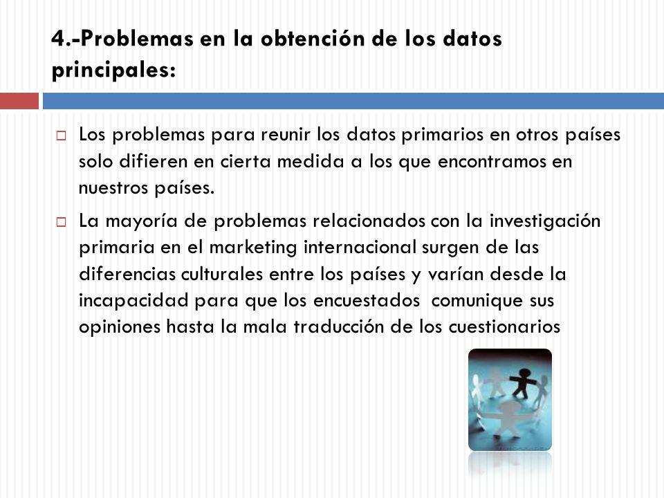4.-Problemas en la obtención de los datos principales: