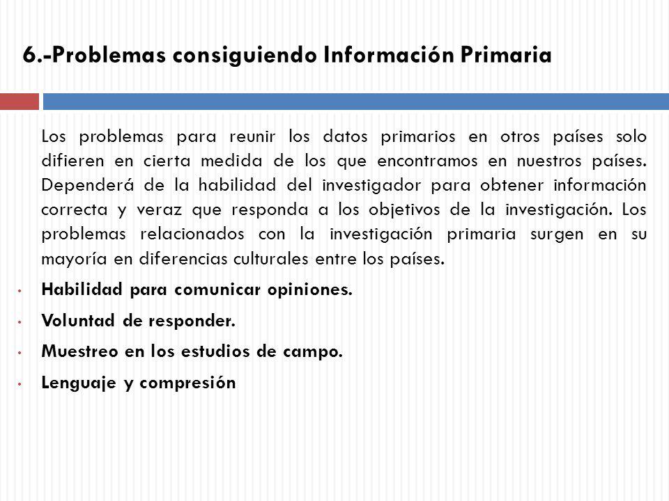 6.-Problemas consiguiendo Información Primaria