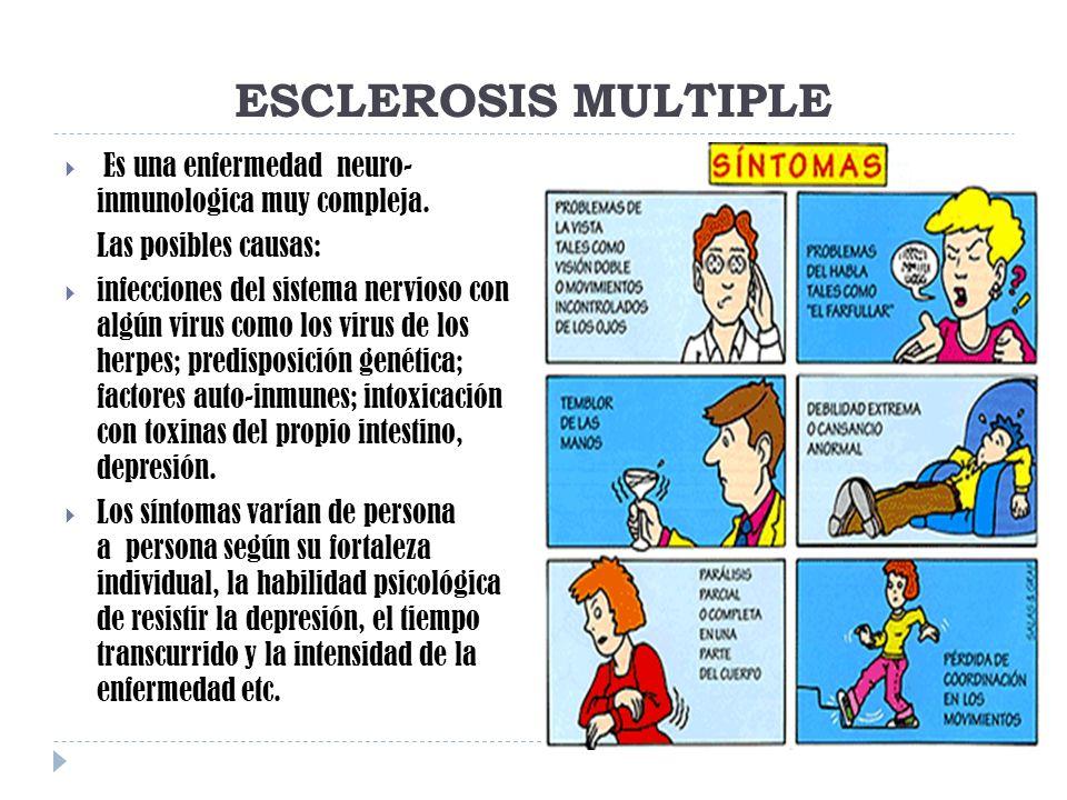 ESCLEROSIS MULTIPLE Es una enfermedad neuro- inmunologica muy compleja. Las posibles causas: