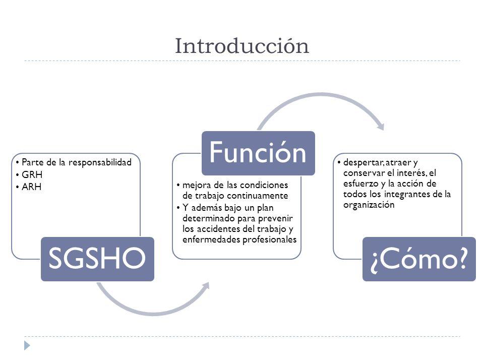 Introducción SGSHO Parte de la responsabilidad GRH ARH Función