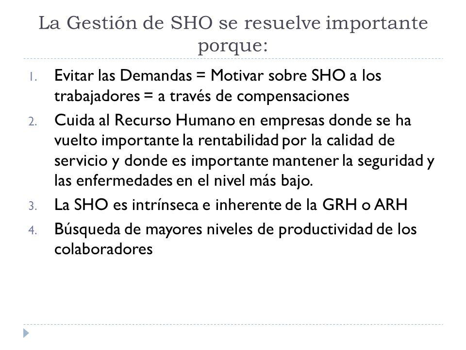 La Gestión de SHO se resuelve importante porque: