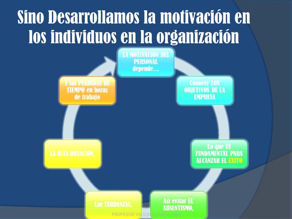 Sino Desarrollamos la motivación en los individuos en la organización
