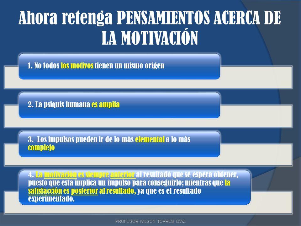 Ahora retenga PENSAMIENTOS ACERCA DE LA MOTIVACIÓN