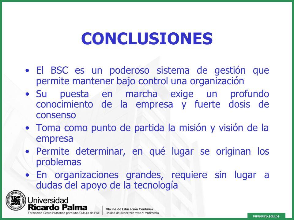 CONCLUSIONES El BSC es un poderoso sistema de gestión que permite mantener bajo control una organización.