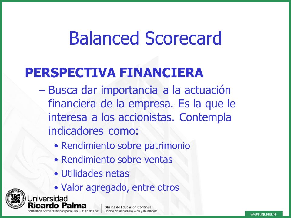 Balanced Scorecard PERSPECTIVA FINANCIERA