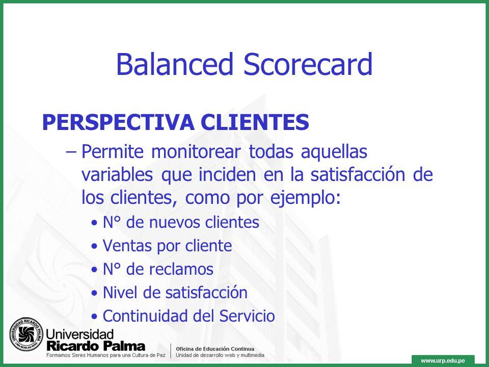 Balanced Scorecard PERSPECTIVA CLIENTES