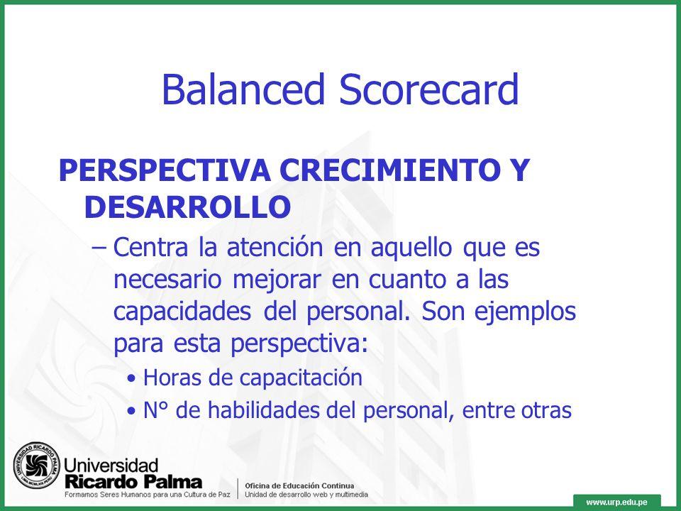Balanced Scorecard PERSPECTIVA CRECIMIENTO Y DESARROLLO
