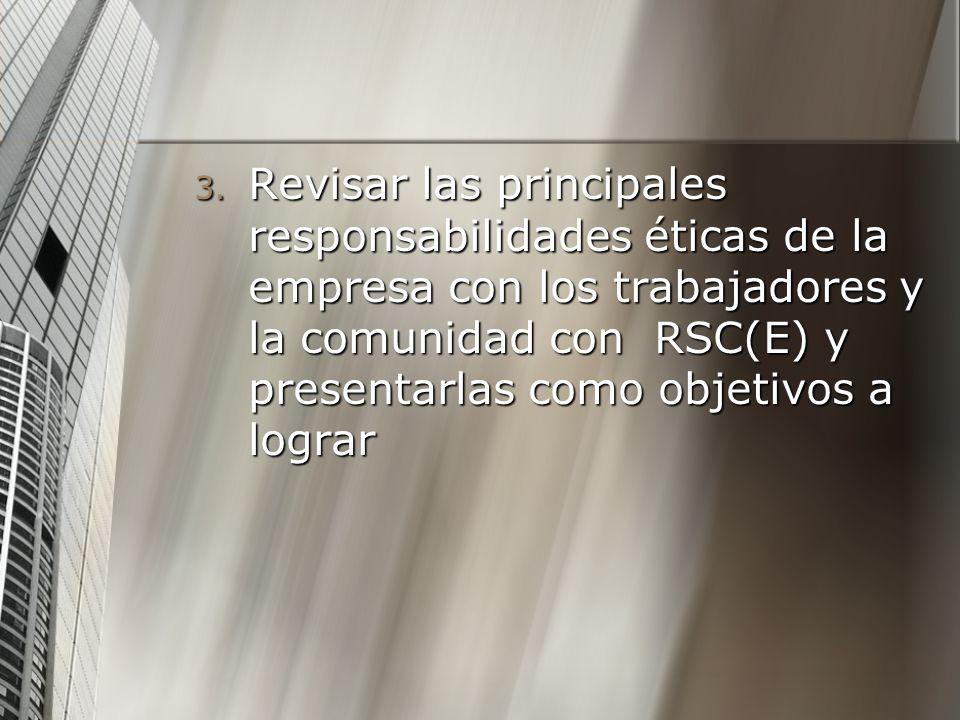 Revisar las principales responsabilidades éticas de la empresa con los trabajadores y la comunidad con RSC(E) y presentarlas como objetivos a lograr