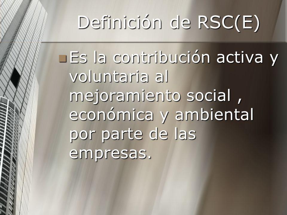 Definición de RSC(E) Es la contribución activa y voluntaria al mejoramiento social , económica y ambiental por parte de las empresas.