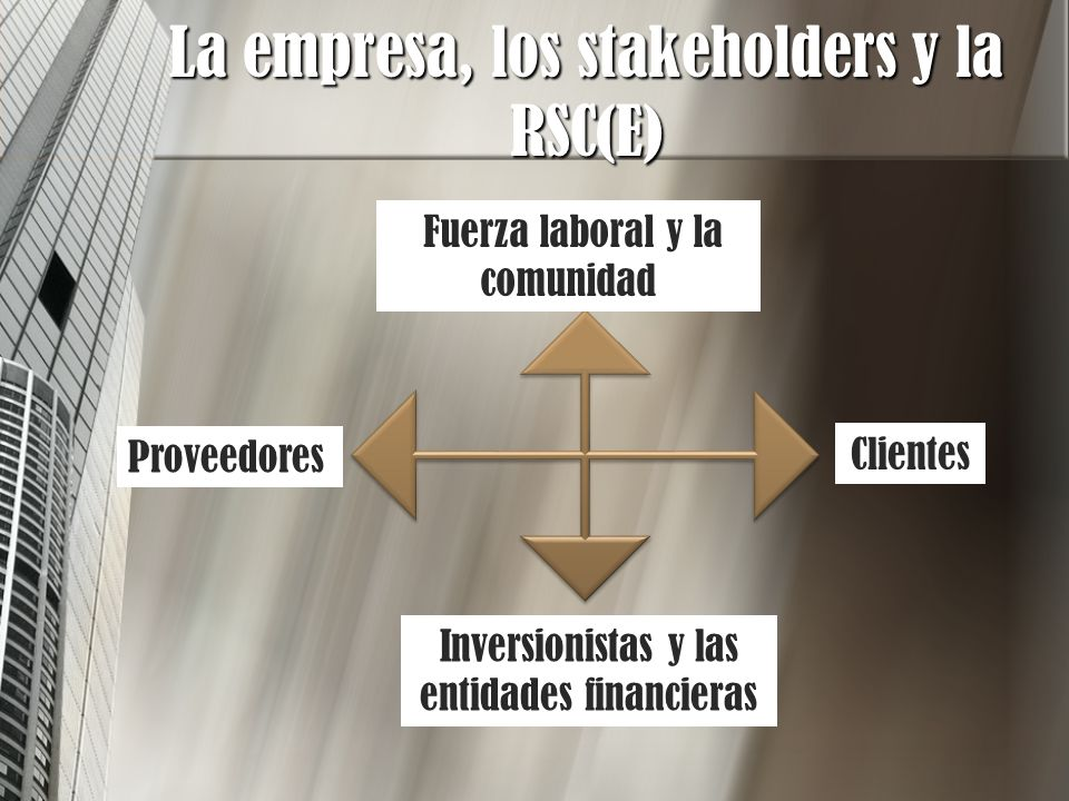 La empresa, los stakeholders y la RSC(E)