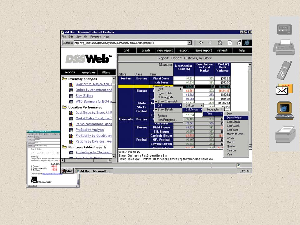 Theme: This slide displays a typical DSSWeb interface of a retailing project.