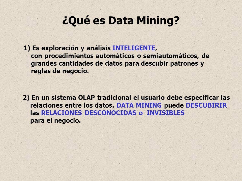 ¿Qué es Data Mining 1) Es exploración y análisis INTELIGENTE,