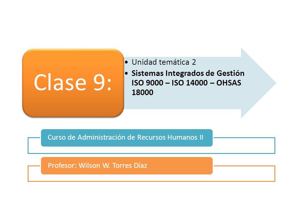 Clase 9: Unidad temática 2. Sistemas Integrados de Gestión ISO 9000 – ISO 14000 – OHSAS 18000. Curso de Administración de Recursos Humanos II.