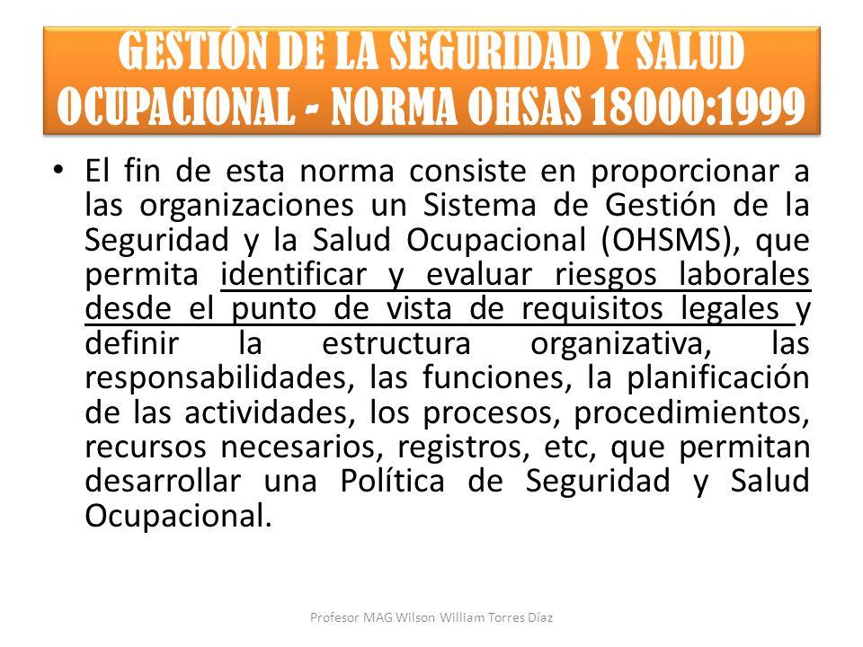GESTIÓN DE LA SEGURIDAD Y SALUD OCUPACIONAL - NORMA OHSAS 18000:1999