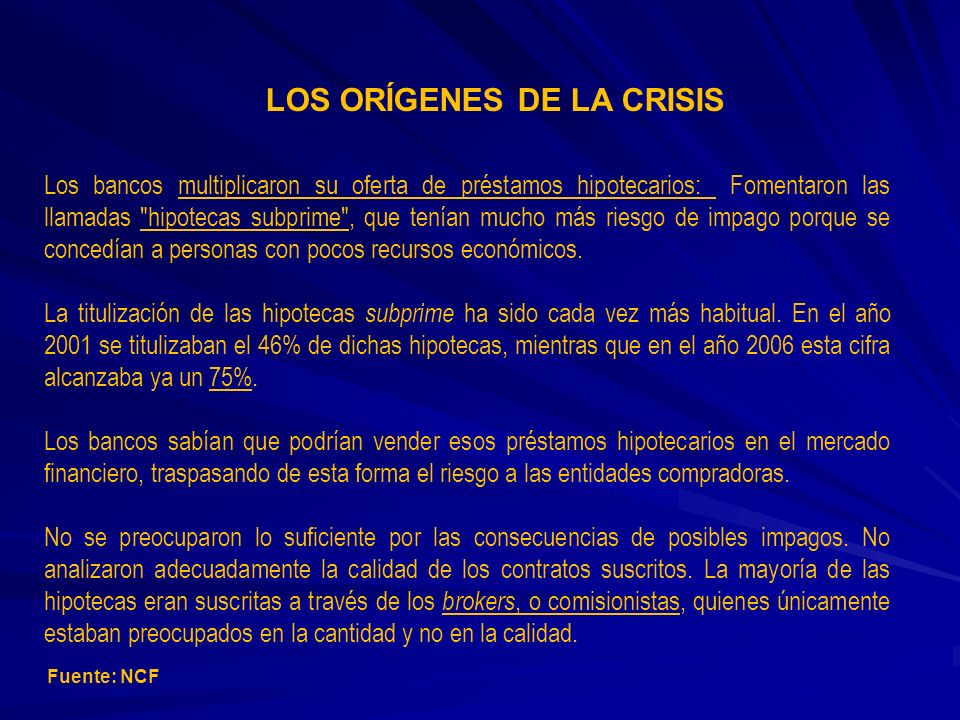 LOS ORÍGENES DE LA CRISIS