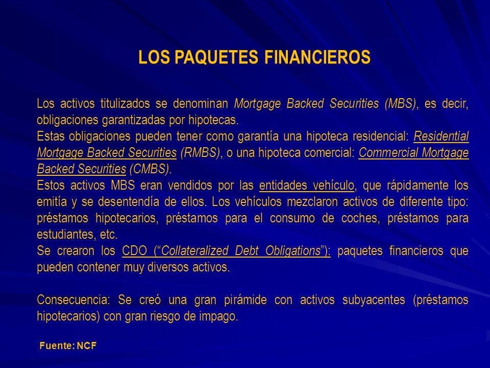 LOS PAQUETES FINANCIEROS