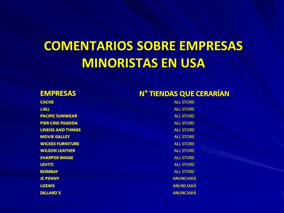 COMENTARIOS SOBRE EMPRESAS MINORISTAS EN USA