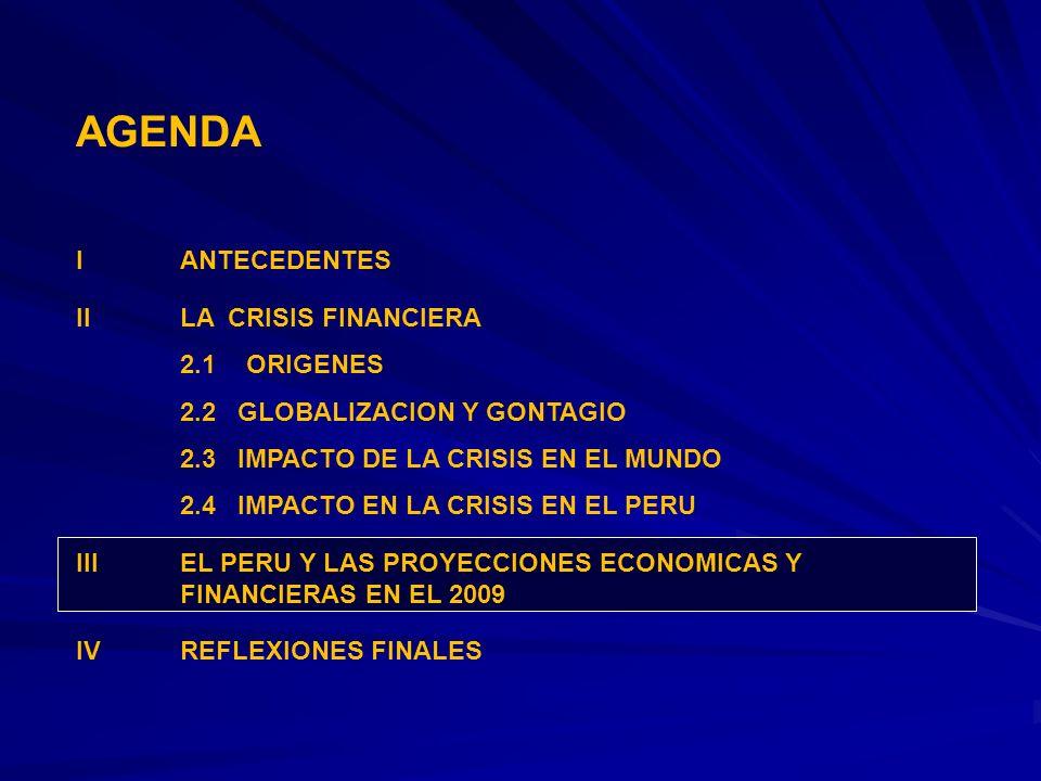 AGENDA I ANTECEDENTES II LA CRISIS FINANCIERA 2.1 ORIGENES