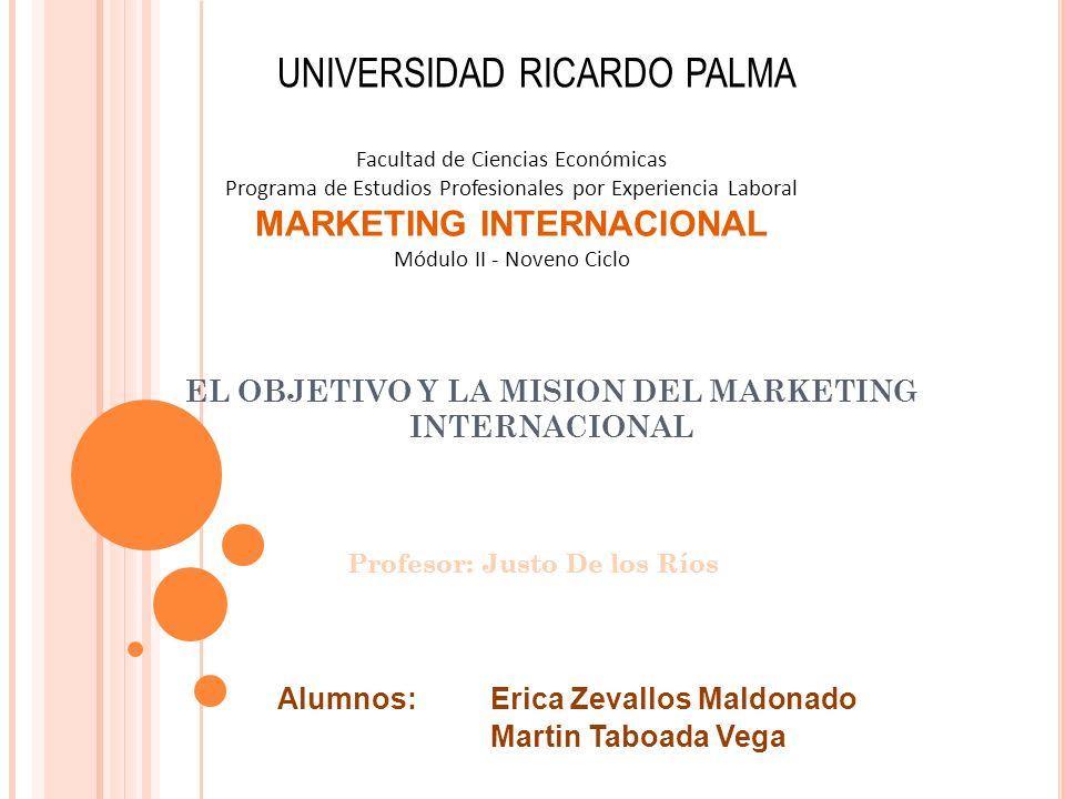 EL OBJETIVO Y LA MISION DEL MARKETING INTERNACIONAL